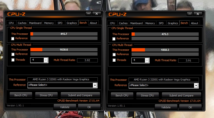 3200G CPU-Z-  stock and 4.1ghz  all core.jpg