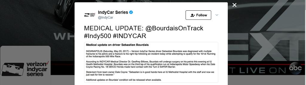 Bourdais Indy 500 Tweet.png