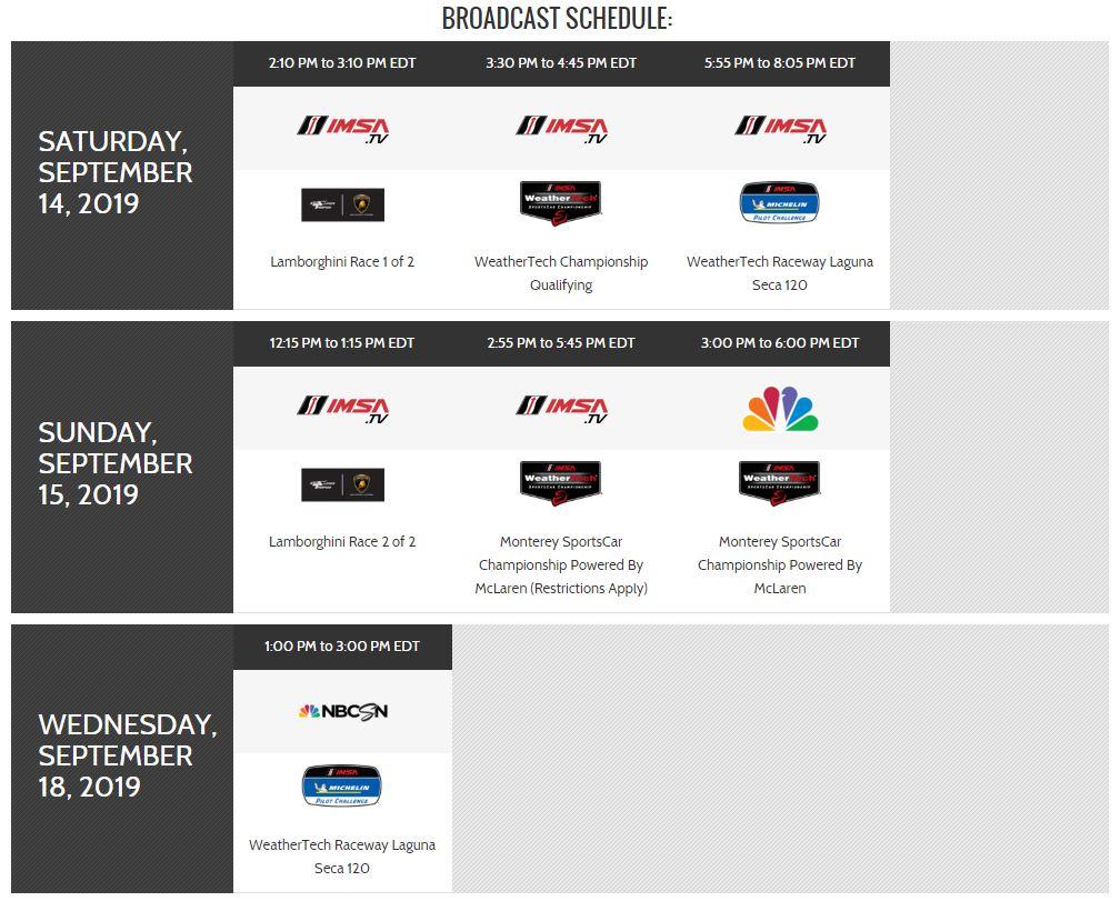 IMSA Laguna Seca Broadcasts Schedule.JPG