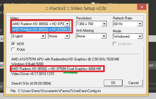 Amd radeon hd 8650g + 8750m dual graphics and lower wei scor.