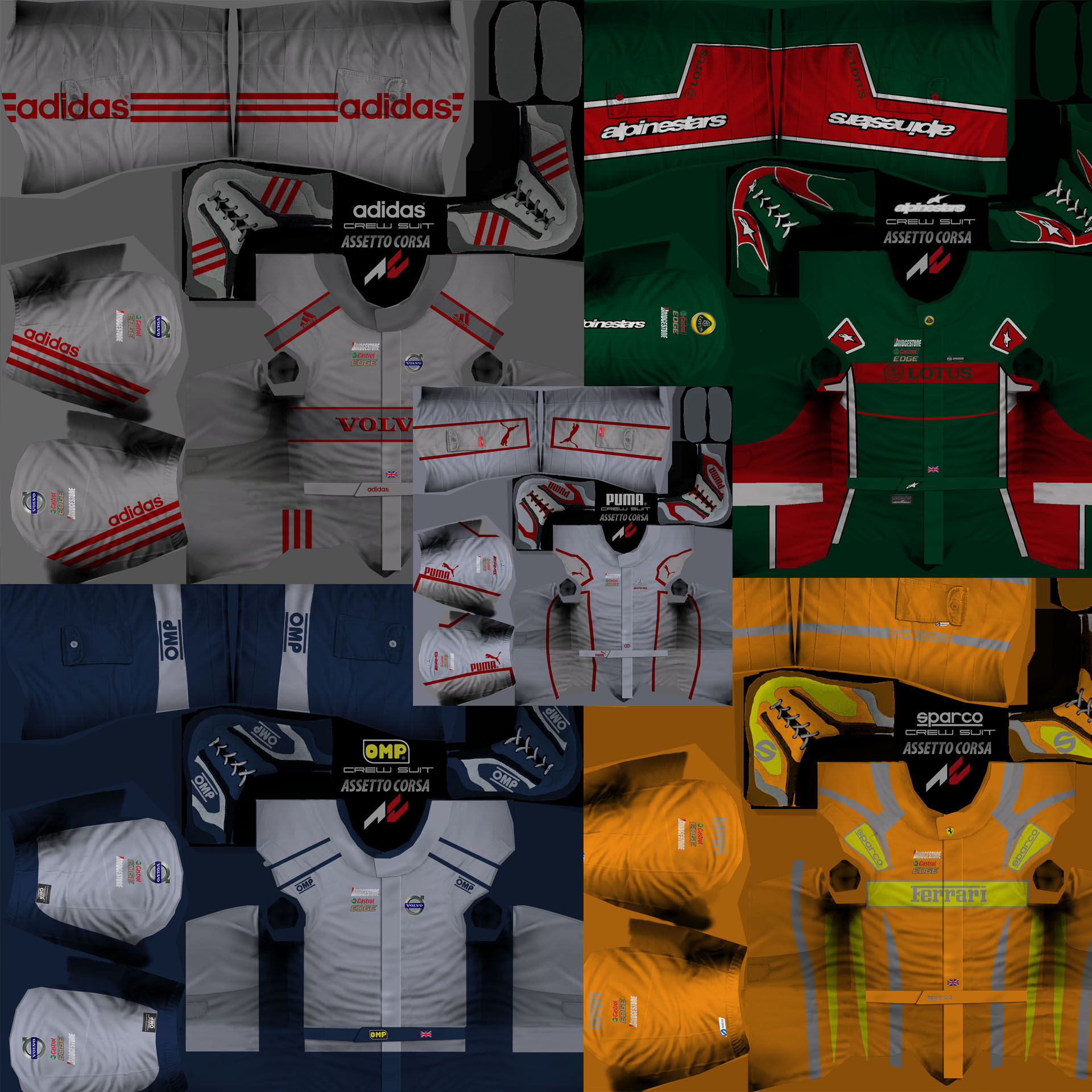 Assetto Crew and Gloves templates, 5 different designs (PSD ...