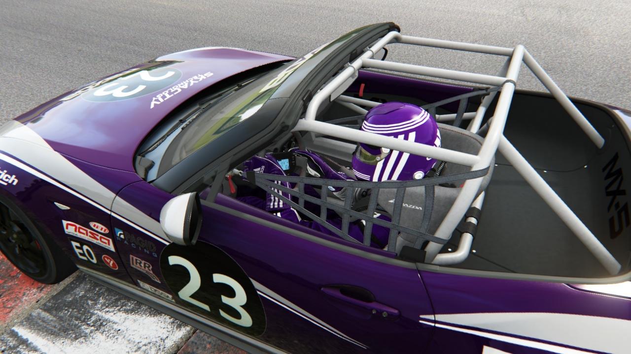 Purple car, purple driver.