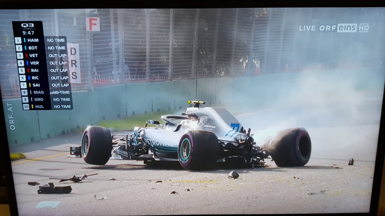 Heavy impact for Bottas at Turn 2