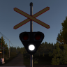 Railroad crossing lights and barriers