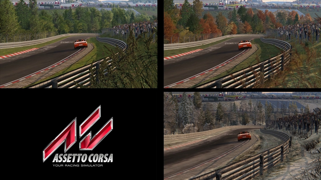 Assetto Corsa (1.12.1) – 3 Seasons 1 Track – Nordschleife Comparison (TV cams)