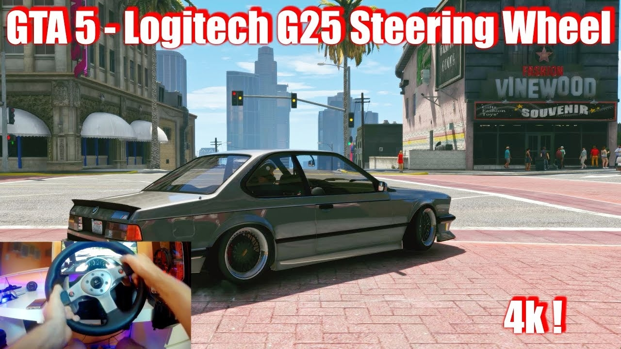 GTA 5 - Logitech G25 Steering Wheel - BMW M6 - Crazy in Traffic (4k)