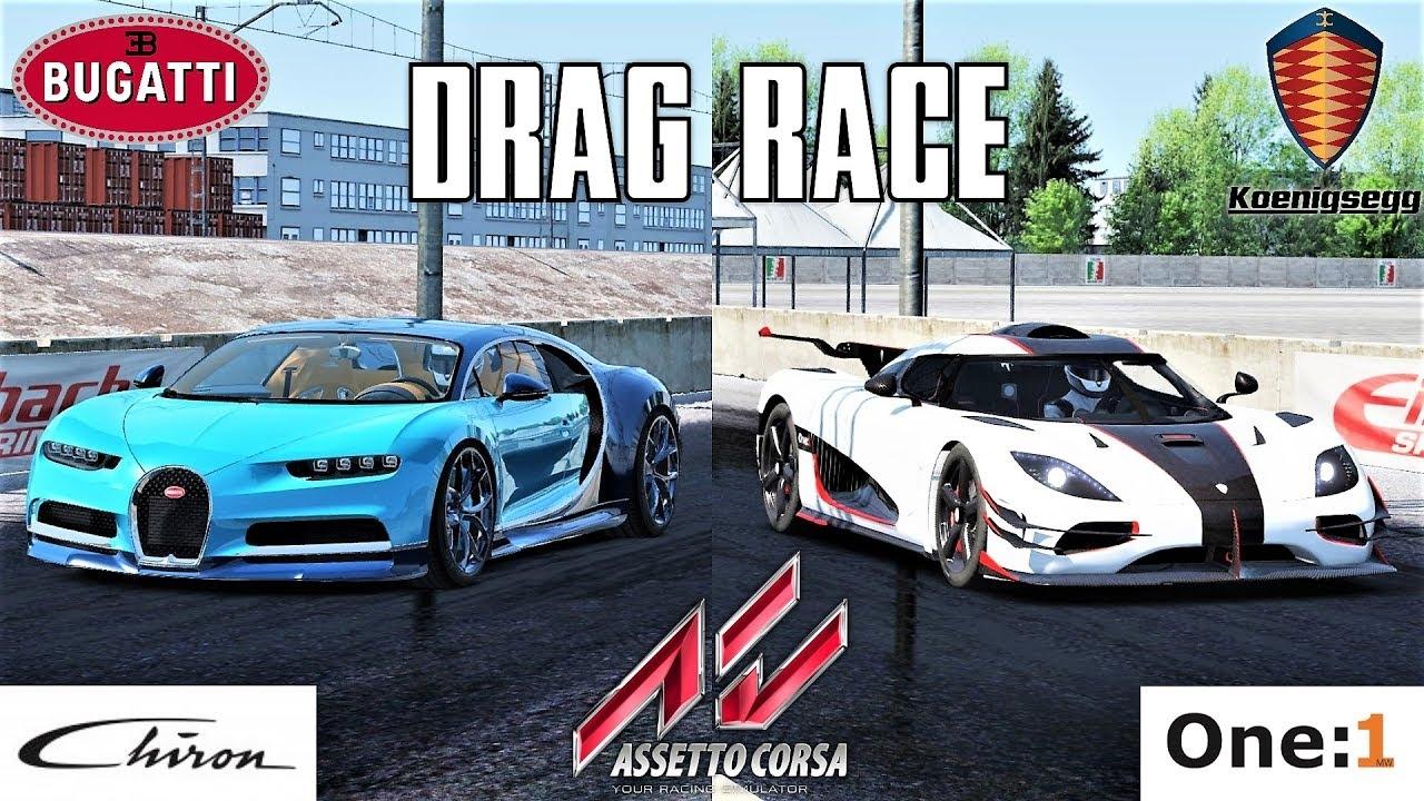 video bugatti chiron vs koenigsegg one 1 2000m drag race assetto corsa in the album. Black Bedroom Furniture Sets. Home Design Ideas