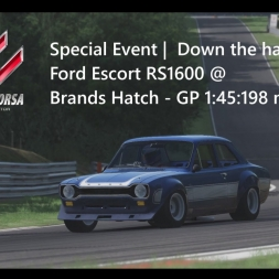 Assetto Corsa | Down the hatch | Achievement Gold Ford Escort RS1600 @ Brands Hatch-GP 1:45:198 min