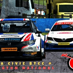 rFactor 2 | Honda Civic BTCC AI RACE @ Donington National | Onboard + TV Camera