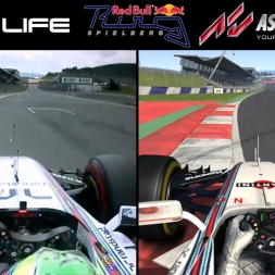 Real Life Vs Assetto Corsa - Red Bull Ring - F1 Williams (Comparison)