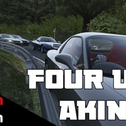 Intense 4-way Akina downhill battle ! Assetto Corsa RX7 vs R34 ft.FWD2K16 and flowermouth