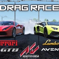 Ferrari 488 GTB VS Lamborgini Aventador SV - 2000m Drag Race - Assetto Corsa