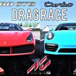 Ferrari 488 GTB VS Porsche 911 Turbo S - 2000m Drag Race - Assetto Corsa