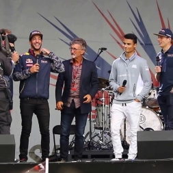 """""""The F1 Band"""" - Daniel Ricciardo sings Happy Birthday with Pascal Wehrlein on Drums at Silverstone"""
