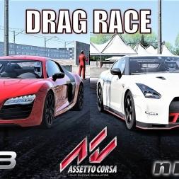 Nissan GTR NISMO VS Audi R8 - 2000m Drag Race - Assetto Corsa