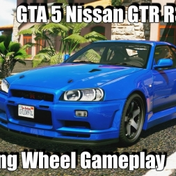 GTA 5 Steering Wheel Gameplay - Ultra Graphics mod - Nissan GTR 4k