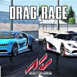 Bugatti Chiron VS Koenigsegg One:1 - 2000m Drag Race - Assetto Corsa