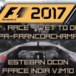 F1 2017 GAMEPLAY - FULL WET TO DRY - 50% RACE @ SPA-FRANCORCHAMPS!!