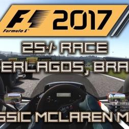 F1 2017 CLASSIC GAMEPLAY - 1988 MCLAREN MP4/4 CLASS 2 - 25% @ INTERLAGOS, BRAZIL!!