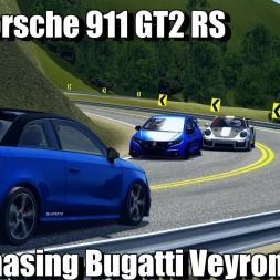 2018 Porsche 911 GT2 RS Chasing Bugatti Veyron Through Traffic - Assetto Corsa (4K)