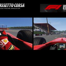 Assetto Corsa vs F1 2019 Graphical / sound comparision - Spa Francorchamps with the Ferrari F2004