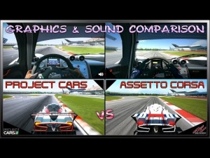 Project CARS vs Assetto Corsa - Graphics & Sound (Dual View Comparison)