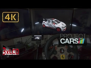 Project CARS early morning Clio Cup Hot Hatch battle Triple Screen in Ultra settings POV 4K