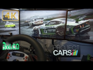Project CARS terrible weather Racing in Storm Ginetta at Hocke Triple Screen in Ultra 4K onboard