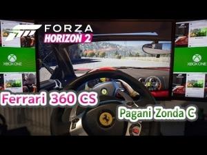 Forza Horizon 2 | Ferrari 360CS + Pagani Zonda C event | Thrustmaster TX wheel rig