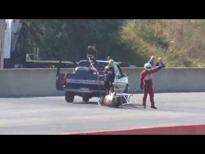 SANTA POD 2014 European Finals Top Fuel Bike Crash - Luckiest man alive!