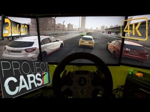 Project CARS | Sport Cars sprint in Dubai | Mercedes A45 + EVO X + BMW M1 | 3xLCD ULTRA 4K