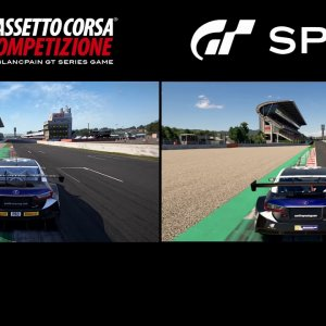 Assetto Corsa Competizione vs Gran Turismo Sport graphical Comparision Clear/Rain Barcelona/Spa