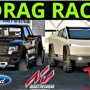 Tesla CYBERTRUCK VS Ford F-150 Raptor | 2000m Drag Race | Assetto Corsa | 4K