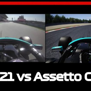 F1 2021 vs Assetto Corsa -100th pole Lewis Hamilton Spanish GP